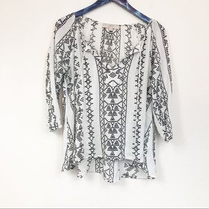 Loft V-Neck Aztec White Blouse